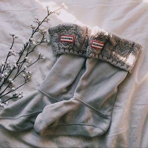 Grey Cable Knit Hunter Boot Socks